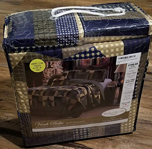 Rustic Blue And Brown Farmhouse Primitive Woodland Star 3pc FullQueen Size Quilt Setm BROWN BARN STAR 0 2