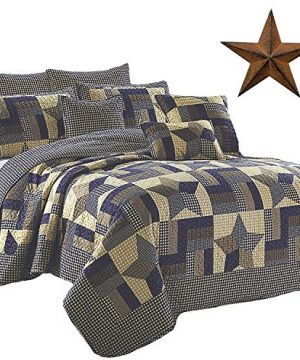 Rustic Blue And Brown Farmhouse Primitive Woodland Star 3pc FullQueen Size Quilt Setm BROWN BARN STAR 0 300x360