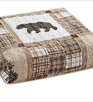 Rustic Modern Farmhouse Cabin Lodge Quilted Bedspread Coverlet Bedding Set With Patchwork Of Wildlife Grizzly Bears Deer Buck And Plaid Check Patterns In Taupe Brown Western 1 Twin 0 0 300x328