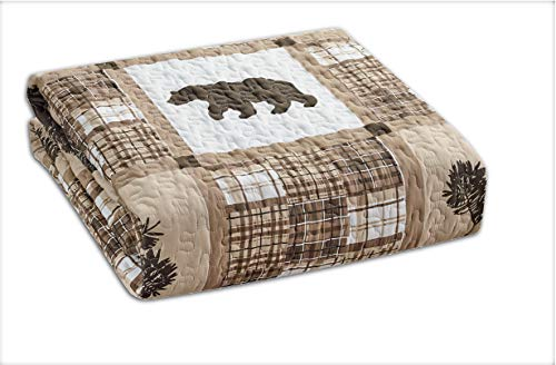 Rustic Modern Farmhouse Cabin Lodge Quilted Bedspread Coverlet Bedding Set With Patchwork Of Wildlife Grizzly Bears Deer Buck And Plaid Check Patterns In Taupe Brown Western 1 Twin 0 0