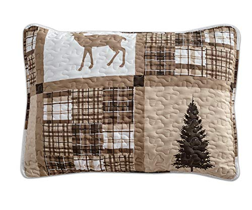 Rustic Modern Farmhouse Cabin Lodge Quilted Bedspread Coverlet Bedding Set With Patchwork Of Wildlife Grizzly Bears Deer Buck And Plaid Check Patterns In Taupe Brown Western 1 Twin 0 1
