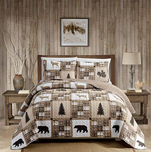 Rustic Modern Farmhouse Cabin Lodge Quilted Bedspread Coverlet Bedding Set With Patchwork Of Wildlife Grizzly Bears Deer Buck And Plaid Check Patterns In Taupe Brown Western 1 Twin 0