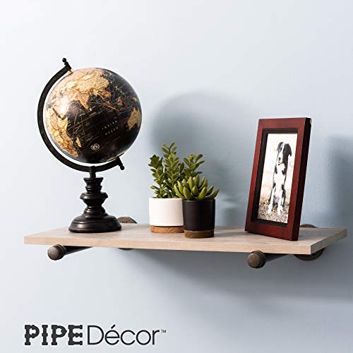Rustic Pipe Decor Industrial Shelf Brackets Set Of Four Industrial Steel Grey Fittings Flanges Pipes For Custom Floating Shelves Vintage Furniture Decorations Wall Mounted DIY Bracket 8 Inch 0 3