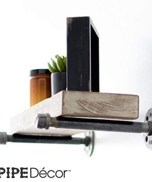 Rustic Pipe Decor Industrial Shelf Brackets Set Of Four Industrial Steel Grey Fittings Flanges Pipes For Custom Floating Shelves Vintage Furniture Decorations Wall Mounted DIY Bracket 8 Inch 0 4 300x360