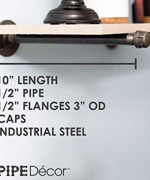 Rustic Pipe Decor Industrial Shelf Brackets Set Of Four Industrial Steel Grey Iron Fittings Flanges And Pipes For Hanging Custom Floating Shelves Wall Mounted Bracket 10 Inch 4 Brackets Only 0 0 300x360