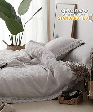 SIMPLEOPULENCE 3Pcs 100 Pure Linen Duvet Cover Set Stone Washed Lace Border Farmhouse King 0 300x360