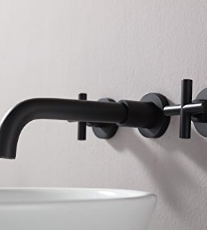 SITGES Matte Black Bathroom Faucet Double Handle Wall Mount Bathroom Sink Faucet And Rough In Valve Included Matte Black 0 3 300x333