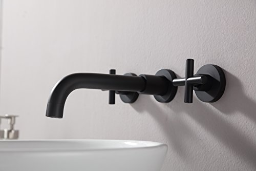 SITGES Matte Black Bathroom Faucet Double Handle Wall Mount Bathroom Sink Faucet And Rough In Valve Included Matte Black 0 3