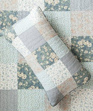 SLPR Wildflowers 3 Piece Real Patchwork Cotton Quilt Set King With 2 Shams Pre Washed Reversible Machine Washable Lightweight Bedspread Coverlet 0 1 300x360