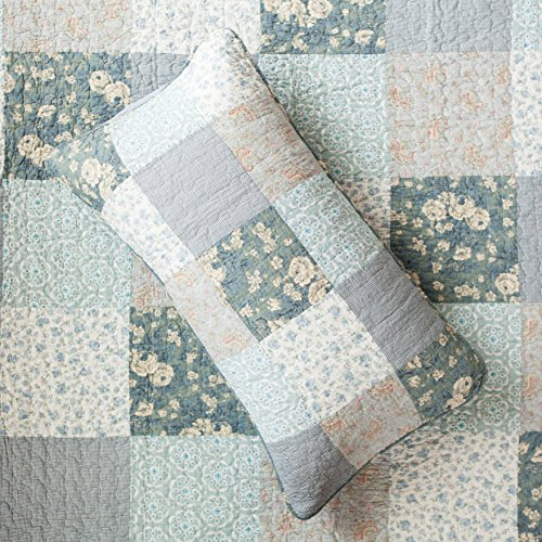 SLPR Wildflowers 3 Piece Real Patchwork Cotton Quilt Set King With 2 Shams Pre Washed Reversible Machine Washable Lightweight Bedspread Coverlet 0 1