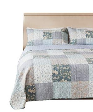 SLPR Wildflowers 3 Piece Real Patchwork Cotton Quilt Set King With 2 Shams Pre Washed Reversible Machine Washable Lightweight Bedspread Coverlet 0 300x360
