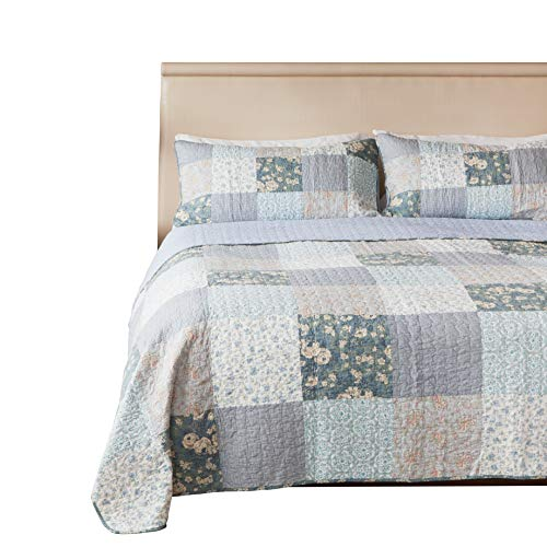 SLPR Wildflowers 3 Piece Real Patchwork Cotton Quilt Set King With 2 Shams Pre Washed Reversible Machine Washable Lightweight Bedspread Coverlet 0