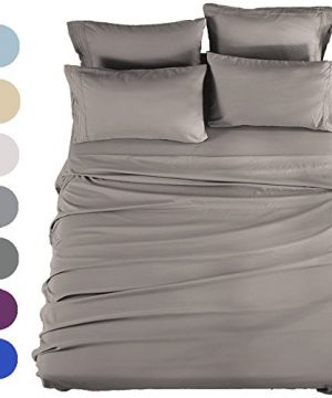 SONORO KATE Bed Sheets Set Sheets Microfiber Super Soft 1800 Thread Count Luxury Egyptian Sheets 16 Inch Deep Pocket Wrinkle Fade And Hypoallergenic 6 Piece Queen Grey 0 300x360