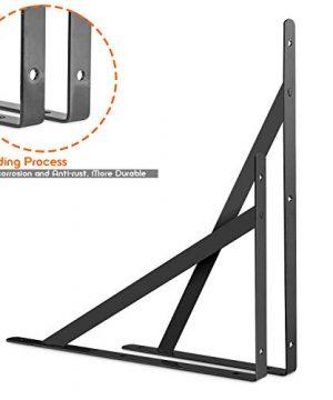 STARVAST 12 Pack Heavy Duty Shelf Brackets 98 X 63 Inch Floating Shelves Black Triangle Shelf Brackets 90 Degree Angle Wall Mounted Shelf Supporter Corner Bracket 250x160mm 0 1 300x360