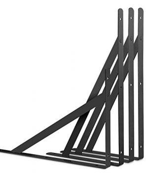 STARVAST 12 Pack Heavy Duty Shelf Brackets 98 X 63 Inch Floating Shelves Black Triangle Shelf Brackets 90 Degree Angle Wall Mounted Shelf Supporter Corner Bracket 250x160mm 0 4 300x360