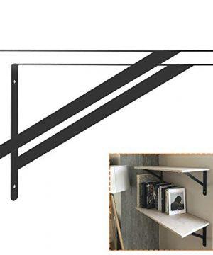 STARVAST 12 Pack Heavy Duty Shelf Brackets 98 X 63 Inch Floating Shelves Black Triangle Shelf Brackets 90 Degree Angle Wall Mounted Shelf Supporter Corner Bracket 250x160mm 0 5 300x360