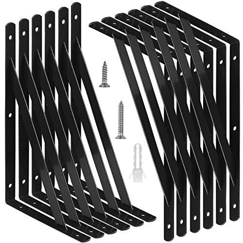 STARVAST 12 Pack Heavy Duty Shelf Brackets 98 X 63 Inch Floating Shelves Black Triangle Shelf Brackets 90 Degree Angle Wall Mounted Shelf Supporter Corner Bracket 250x160mm 0
