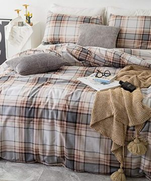 SUSYBAO 3 Piece Duvet Cover Set 100 Natural Cotton King Size Khaki Tartan Bedding Set With Zipper Ties 1 Grey Plaid Striped Duvet Cover 2 Pillowcases Luxury Quality Soft Cool Comfortable Lightweight 0 0 300x360