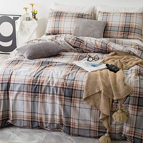 SUSYBAO 3 Piece Duvet Cover Set 100 Natural Cotton King Size Khaki Tartan Bedding Set With Zipper Ties 1 Grey Plaid Striped Duvet Cover 2 Pillowcases Luxury Quality Soft Cool Comfortable Lightweight 0 0