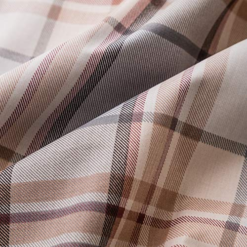 SUSYBAO 3 Piece Duvet Cover Set 100 Natural Cotton King Size Khaki Tartan Bedding Set With Zipper Ties 1 Grey Plaid Striped Duvet Cover 2 Pillowcases Luxury Quality Soft Cool Comfortable Lightweight 0 1