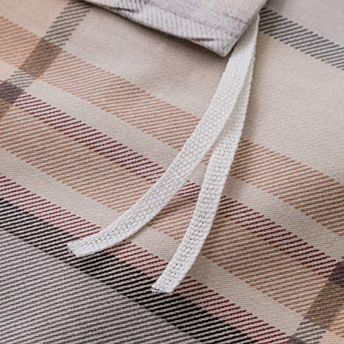 SUSYBAO 3 Piece Duvet Cover Set 100 Natural Cotton King Size Khaki Tartan Bedding Set With Zipper Ties 1 Grey Plaid Striped Duvet Cover 2 Pillowcases Luxury Quality Soft Cool Comfortable Lightweight 0 2