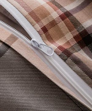 SUSYBAO 3 Piece Duvet Cover Set 100 Natural Cotton King Size Khaki Tartan Bedding Set With Zipper Ties 1 Grey Plaid Striped Duvet Cover 2 Pillowcases Luxury Quality Soft Cool Comfortable Lightweight 0 3 300x360