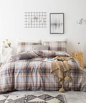SUSYBAO 3 Piece Duvet Cover Set 100 Natural Cotton King Size Khaki Tartan Bedding Set With Zipper Ties 1 Grey Plaid Striped Duvet Cover 2 Pillowcases Luxury Quality Soft Cool Comfortable Lightweight 0 300x360