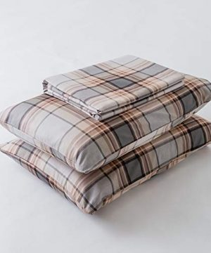 SUSYBAO 3 Piece Duvet Cover Set 100 Natural Cotton King Size Khaki Tartan Bedding Set With Zipper Ties 1 Grey Plaid Striped Duvet Cover 2 Pillowcases Luxury Quality Soft Cool Comfortable Lightweight 0 5 300x360