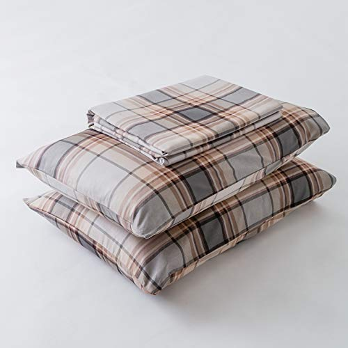 SUSYBAO 3 Piece Duvet Cover Set 100 Natural Cotton King Size Khaki Tartan Bedding Set With Zipper Ties 1 Grey Plaid Striped Duvet Cover 2 Pillowcases Luxury Quality Soft Cool Comfortable Lightweight 0 5