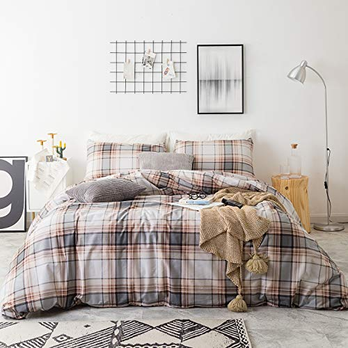 SUSYBAO 3 Piece Duvet Cover Set 100 Natural Cotton King Size Khaki Tartan Bedding Set With Zipper Ties 1 Grey Plaid Striped Duvet Cover 2 Pillowcases Luxury Quality Soft Cool Comfortable Lightweight 0