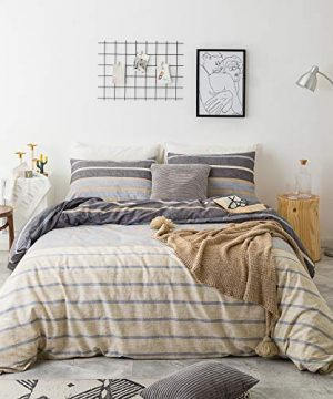 SUSYBAO 3 Piece Duvet Cover Set 100 Natural Cotton Queen Size Reversible Gray Stripe Bedding Set 1 Khaki Striped Duvet Cover With Zipper Ties 2 Pillowcases Luxury Quality Soft Breathable Lightweight 0 300x360