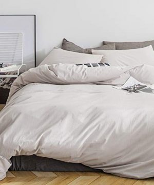 SUSYBAO 3 Pieces Duvet Cover Set 100 Natural Washed Cotton Beige King Size 1 Duvet Cover 2 Pillowcases Luxury Quality Ultra Soft Breathable Durable Hypoallergenic Bedding Set With Zipper Ties 0 0 300x360