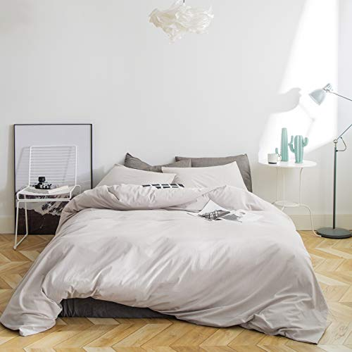 SUSYBAO 3 Pieces Duvet Cover Set 100 Natural Washed Cotton Beige King Size 1 Duvet Cover 2 Pillowcases Luxury Quality Ultra Soft Breathable Durable Hypoallergenic Bedding Set With Zipper Ties 0