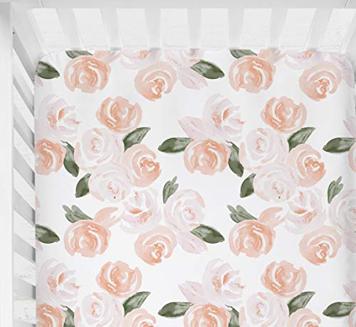 Sahaler Floral Crib Sheet For Girl Boy Baby Fitted Crib Sheets For Standard Crib And Toddle Mattresses Blush Watercolor 0