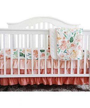 Secret Garden Coral Floral Ruffle Baby Minky Blanket Water Color Peach Floral Nursery Crib Ruffle Skirt Set Baby Girl Crib Bedding Secret Garden 3 Pieces Set 0 300x360