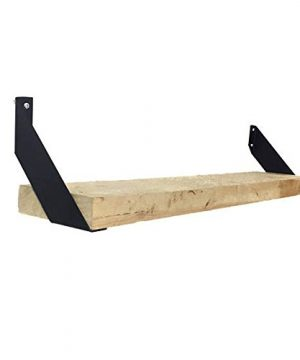 Set Of Two Bent Metal Industrial Angle Shelf Brackets Flat Black Powder Coated Finish 35X35 0 300x360