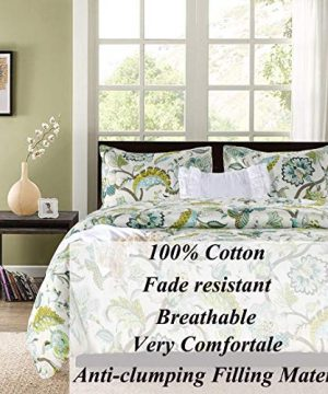 SexyTown Floral Comforter Set Botanical Flowers Pattern Printed 100 Cotton Fabric With Soft Microfiber Inner Fill BeddingUltra Soft And Fluffy Machine Washable 3pcs KingCal King Size 0 0 300x360