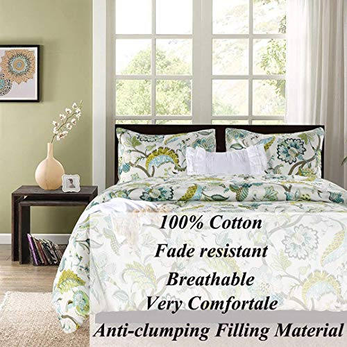 SexyTown Floral Comforter Set Botanical Flowers Pattern Printed 100 Cotton Fabric With Soft Microfiber Inner Fill BeddingUltra Soft And Fluffy Machine Washable 3pcs KingCal King Size 0 0