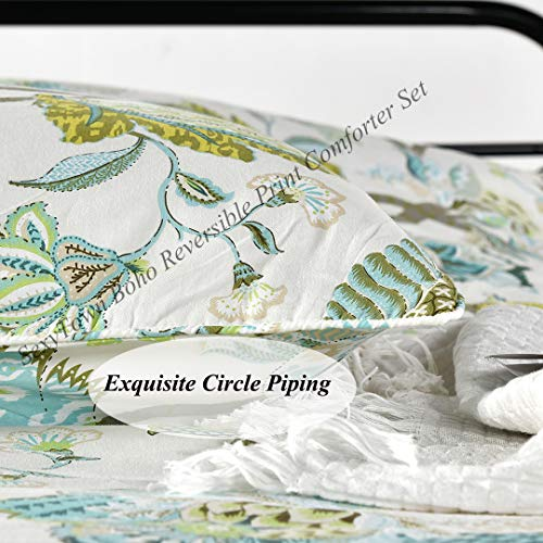 SexyTown Floral Comforter Set Botanical Flowers Pattern Printed 100 Cotton Fabric With Soft Microfiber Inner Fill BeddingUltra Soft And Fluffy Machine Washable 3pcs KingCal King Size 0 1