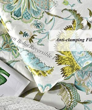 SexyTown Floral Comforter Set Botanical Flowers Pattern Printed 100 Cotton Fabric With Soft Microfiber Inner Fill BeddingUltra Soft And Fluffy Machine Washable 3pcs KingCal King Size 0 2 300x360