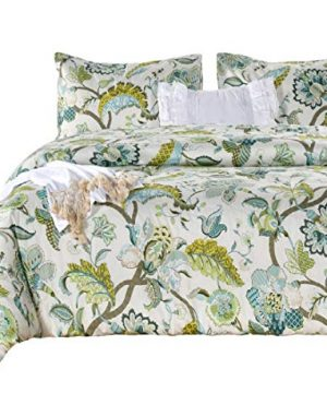 SexyTown Floral Comforter Set Botanical Flowers Pattern Printed 100 Cotton Fabric With Soft Microfiber Inner Fill BeddingUltra Soft And Fluffy Machine Washable 3pcs KingCal King Size 0 300x360
