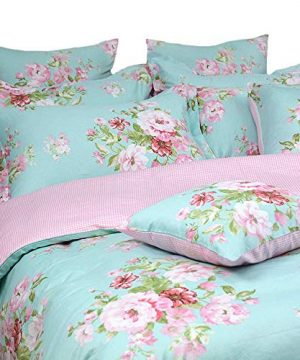 Shabby Farmhouse Pink Rose Floral Duvet Cover Set 100 Cotton 3Pcs American Country Style Queen Size Bedding Set 1duvet Cover 2pillowcases 0 0 300x360