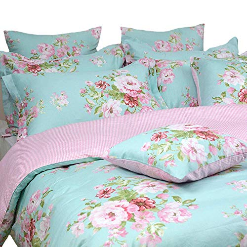 Shabby Farmhouse Pink Rose Floral Duvet Cover Set 100 Cotton 3Pcs American Country Style Queen Size Bedding Set 1duvet Cover 2pillowcases 0 0