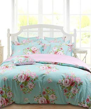 Shabby Farmhouse Pink Rose Floral Duvet Cover Set 100 Cotton 3Pcs American Country Style Queen Size Bedding Set 1duvet Cover 2pillowcases 0 300x360
