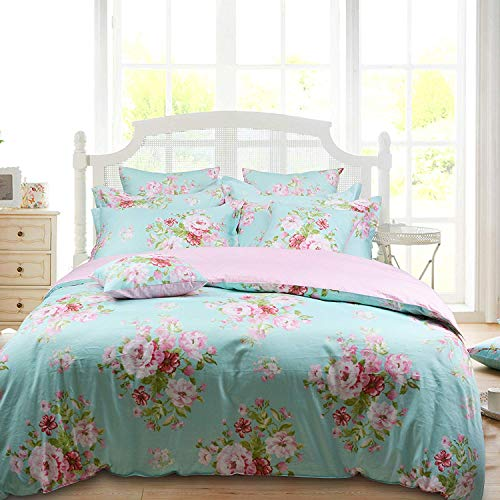 Shabby Farmhouse Pink Rose Floral Duvet Cover Set 100 Cotton 3Pcs American Country Style Queen Size Bedding Set 1duvet Cover 2pillowcases 0