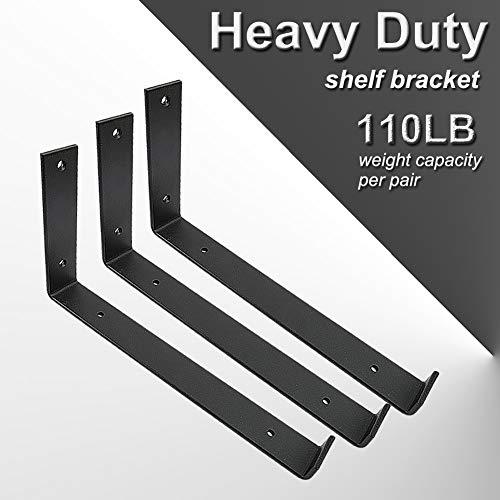 Shelf Brackets 12 Inch 4PCS Heavy Duty Black Wall Bracket With Lip For Floating Shelves Rustic Iron Metal Shelf Bracket For DIY Open Shelving Hardware Included 0 1