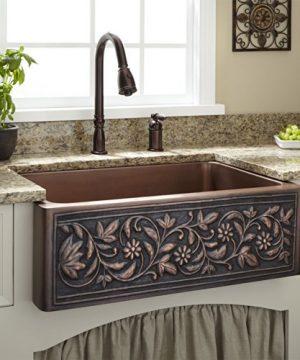 Signature Hardware 214146 30 18 Vine Design Farmhouse Single Basin Copper Kitchen Sink 0 300x360
