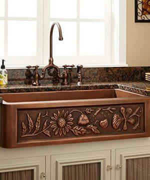 Signature Hardware 318839 Floral Design 33 Single Basin Copper Farmhouse Sink 0 300x360