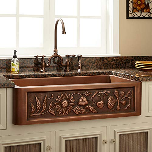 Signature Hardware 318839 Floral Design 33 Single Basin Copper Farmhouse Sink 0