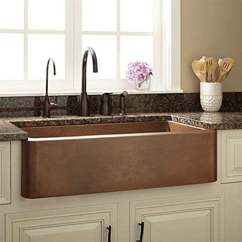 Signature Hardware 318879 Raina 36 Single Basin Copper Farmhouse Sink 0